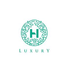 h letter logo luxurybeauty cosmetics logo vector image