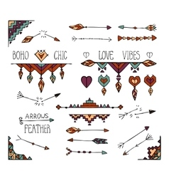 Hand drawn colorful boho tribal elements vector image