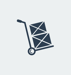 Hand truck iconshipping inventory vector