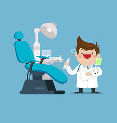 Happy dentist doctor with chair in dental cabinet vector