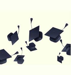 High school graduation hats mortarboard fly up vector