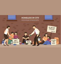 Homeless people town composition vector