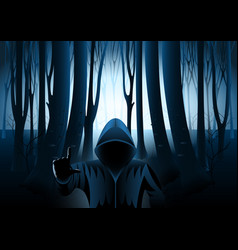 Hooded man in dark mysterious forest vector