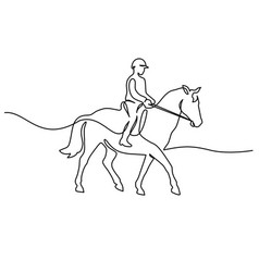 horse and rider on horseback logo continuous one vector image