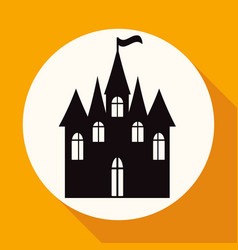 icon castle on white circle with a long shadow vector image
