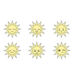 Icon sun with expressions vector