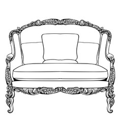 Imperial baroque couch with luxurious ornaments vector