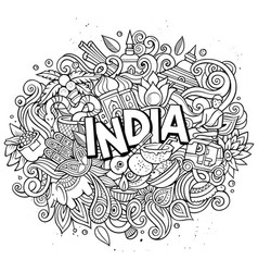 India hand drawn cartoon doodles vector