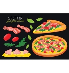 Isolated bacon pizza Fast food set vector
