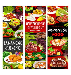 Japanese cuisine menu banners vector