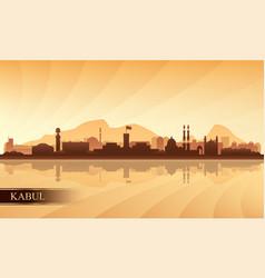 Kabul city skyline silhouette background vector