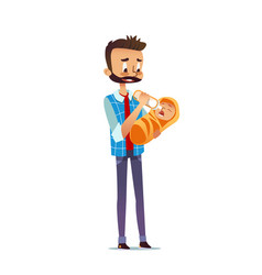 man holding and feeding newborn child with nursing vector image