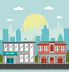 Market commercial building classic city landscape vector