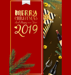 merry christmas and 2019 happy new year background vector image