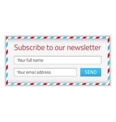Modern newsletter form with name and email vector