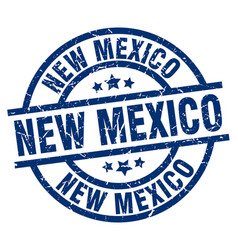 New mexico blue round grunge stamp vector