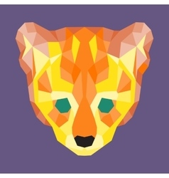 Orange and yellow low poly ocelot vector image