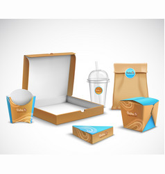 packaging fast food realistic set vector image