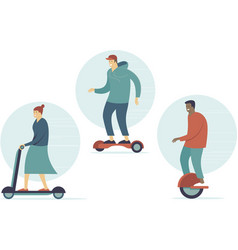 people riding personal electric transport vector image