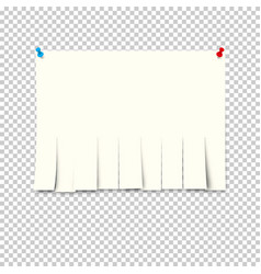 Pieces torn white lined notebook paper on gray vector