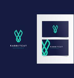 Rabbit cut logo mark with business card template vector