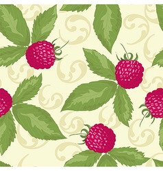 Raspberry seamless pattern with raspberry vector image