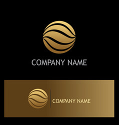 round wave golden logo vector image