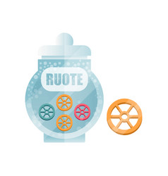 Ruote dry pasta in a transparent glass container vector