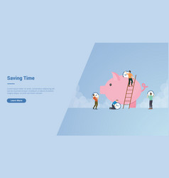 Saving time campaign concept for website template vector
