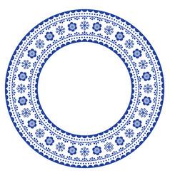 Scandinavian round ornamental frame folk vector