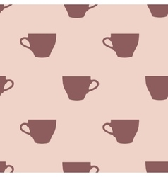 Seamless pattern of tea cups on a pink background vector
