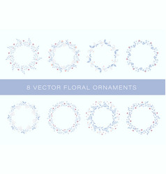 set floral ornaments for greeting cards vector image