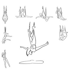 set of aerial yoga sketch doodle vector image