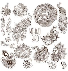 Set of birds in the mehendi style vector