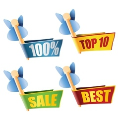 Set of four arrows with banners and sale texts vector image