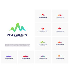 Set of medical pulse or wave logo design vector