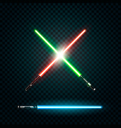 set of realistic light swords crossed sabers vector image