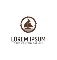 ship logo design concept template vector image