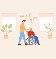 son or volunteer visiting granny or dad at nursing vector image