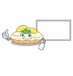 Thumbs up with board cartoon lemon cake with sugar vector