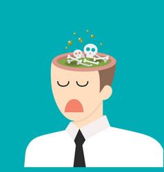Toxic idea in businessmen head vector