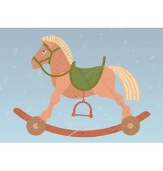 toy rocking horse on retro background vector image