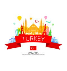 Turkey travel landmarks vector