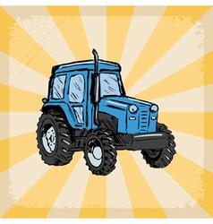 vintage grunge background with traktor vector image