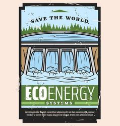 Water dam hydro power plant eco energy vector