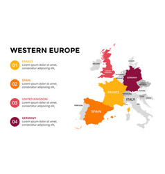 Western europe map infographic slide presentation vector