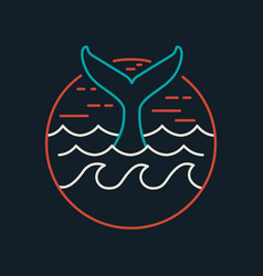 Whale icon in flat line art with ocean waves vector