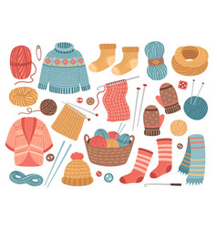 winter knit clothes knitting hobby wool cloth vector image