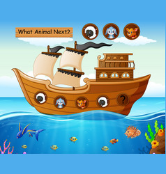wood boat sailing with farm animals theme vector image