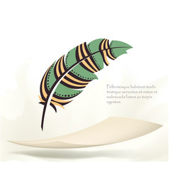 Writing old colorful feather with flying paper vector
